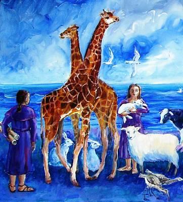 A Pair Of Giraffes Art Print by Trudi Doyle