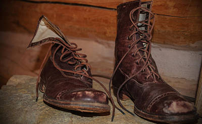 Photograph - A Pair Of Ladies Old Lace Up Boots by Tikvah's Hope
