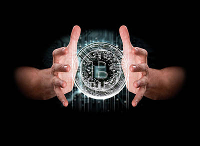 Hologram Digital Art - A Pair Of Male Hands Enveloping A Hologram Of A Bitcoin On An Isolated Dark Background by Allan Swart
