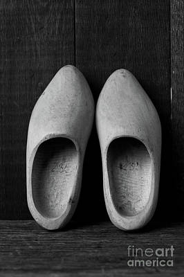 Photograph - A Pair Of Old Wooden Shoes by Edward Fielding