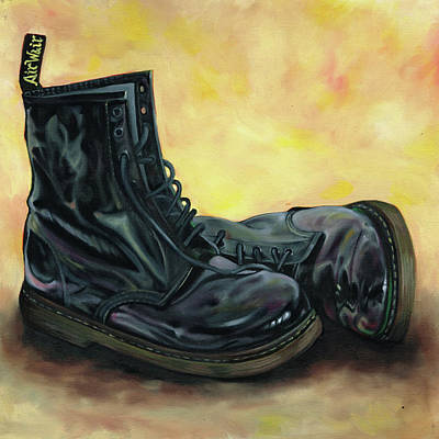 Painting - A Pair Of Patent Dr Martens 2 by Richard Mountford