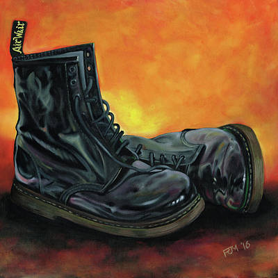 Painting - A Pair Of Patent Dr Martens by Richard Mountford