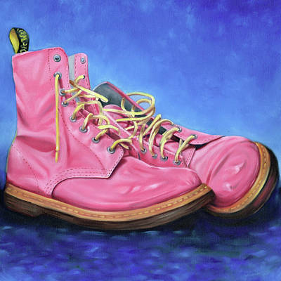Painting - A Pair Of Pink Dr Martens by Richard Mountford