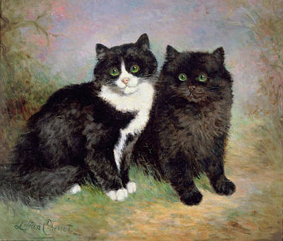 Black And White Cat Painting - A Pair Of Pussy Cats by Lilian Cheviot