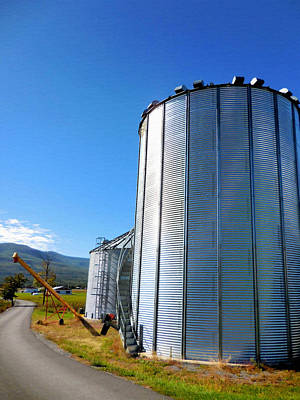 Feed Mill Painting - A Pair Of Steel Grain Bins  2 by Lanjee Chee