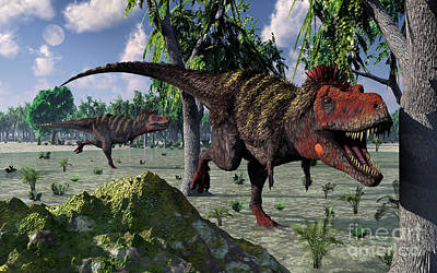 Tarbosaurus Digital Art - A Pair Of Tarbosaurus Dinosaurs Hunting by Mark Stevenson