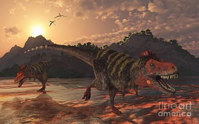 Tarbosaurus Digital Art - A Pair Of Tarbosaurus Dinosaurs by Mark Stevenson