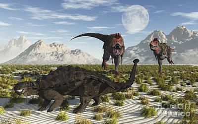 Tarbosaurus Digital Art - A Pair Of Tarbosaurus Dinosaurs Running by Mark Stevenson