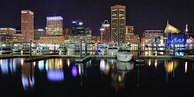 A Panoramic Baltimore Night Art Print by Frozen in Time Fine Art Photography