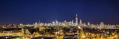 A Panoramic Look At The Chicago Skyline At Dusk Art Print by Sven Brogren