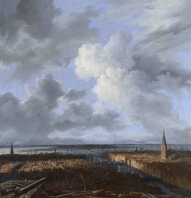 Cityscape Painting - A Panoramic View Of Amsterdam Looking Towards The Ij by Jacob van Ruisdael