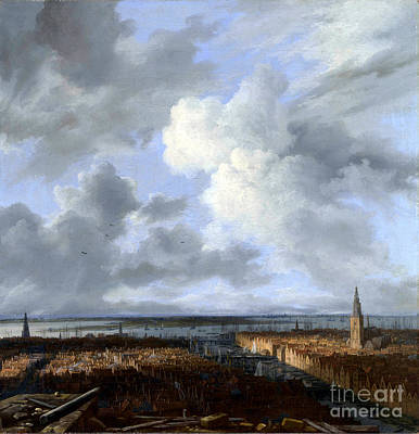 Painting - A Panoramic View Of Amsterdam Looking Towards The Ij by Celestial Images
