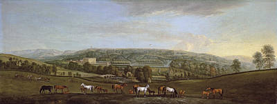 A Panoramic View Of Chatsworth House And Park Art Print