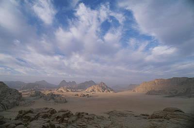 Jordan Photograph - A Panoramic View Of The Wadi Rum Region by Gordon Wiltsie