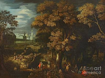 Flemish School Painting - A Park Landscape With Courtly Figures by MotionAge Designs