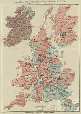 Great Britain Drawing - A Parliamentary Map Of The United Kingdom Of Great Britain And Ireland by English School