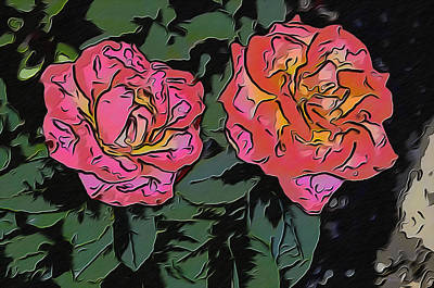 A Parrot And A Tiger Or Two Roses Art Print