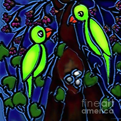Digital Art - A Parrot Family In Wilderness by Latha Gokuldas Panicker