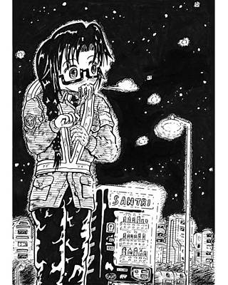 Ink Drawing - A Part-timer Guard In Winter by Hisashi Saruta