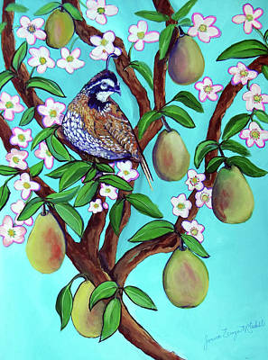 Painting - A Partridge In A  Blooming Pear Tree by Ecinja Art Works