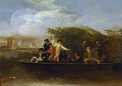 Fishing From Boat Painting - A Party Of Gentlemen Fishing From A Punt by Benjamin West