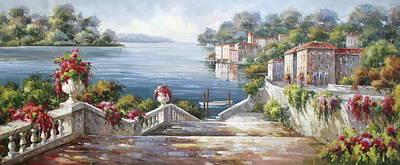 A Passeggiata Al Lago Di Como Art Print by Lucio Campana