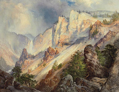 A Passing Shower In The Yellowstone Canyon Art Print by Thomas Moran