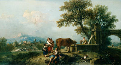 Herding Dog Painting - A Pastoral Scene With Cowherds by Francesco Zuccarelli