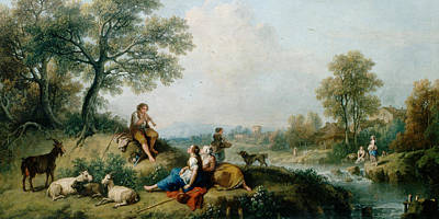 Goat Painting - A Pastoral Scene With Goatherds by Francesco Zuccarelli
