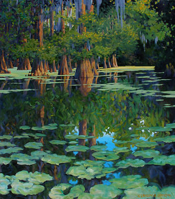Cypress Swamp Painting - A Patch Of Blue by Kevin Lawrence Leveque
