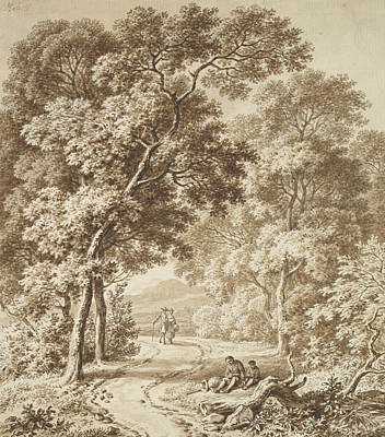 Drawing - A Path Bordered By Trees With Two Beggars And A Couple Strolling by Ferdinand Kobell