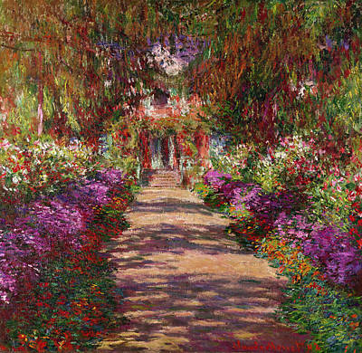 Tree-lined Painting - A Pathway In Monets Garden Giverny by Claude Monet