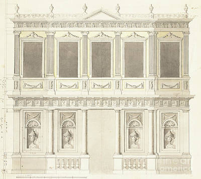 Anton Drawing - A Pavilion Elevation For The Sultana Hadige Palace At Defterdar Bournou by Anton Ignaz Melling