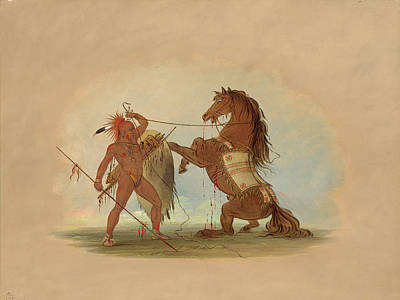 Painting - A Pawnee Warrior Sacrificing His Favorite Horse by George Catlin