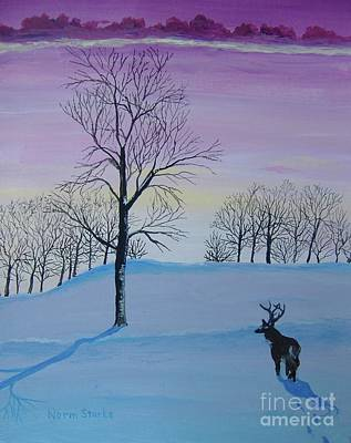 Snowscape Painting - A Peaceful Winter Sunset by Norm Starks