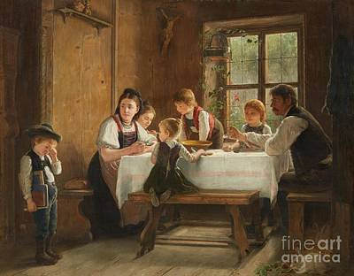 Crying Painting - A Peasant Family At Their Meal With A Crying Boy by MotionAge Designs