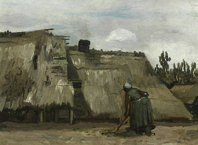 A Peasant Woman Digging In Front Of Her Cottage Art Print by Vincent Van Gogh