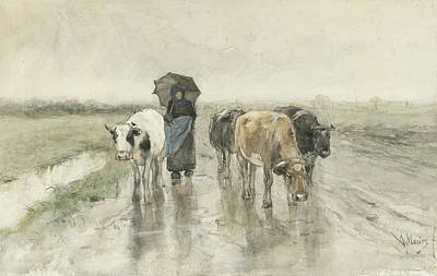 Realist Drawing - A Peasant Woman With Cows On A Country Lane In The Rain by Anton Mauve