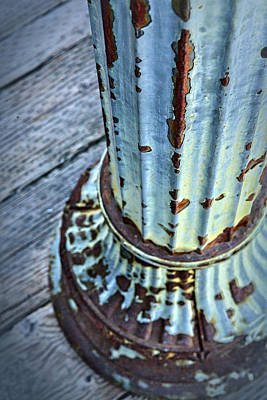 Photograph - A Peeling Post In Blue by Caitlyn  Grasso