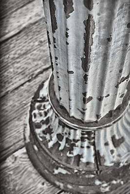 Photograph - A Peeling Post In Monochrome by Caitlyn  Grasso