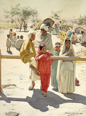 India Painting - A Peep At The Train, India, 1892 by Rudolf Swoboda