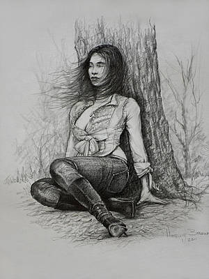 Brunette Drawing - A Pensive Mood by Harvie Brown