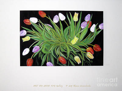 Painting - A Perfect Gift Of Colorful Tulips. View Of Painting On The Wall by Oksana Semenchenko
