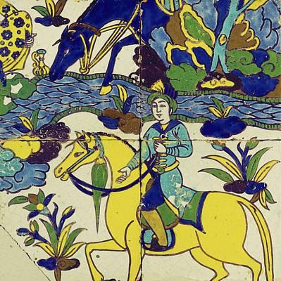 Fabric Painting - A Persian Polychrome Cuerda Seca Tile Panel , Safavid, Circa Late 17th Century, By Adam Asar, No 18a by Adam Asar