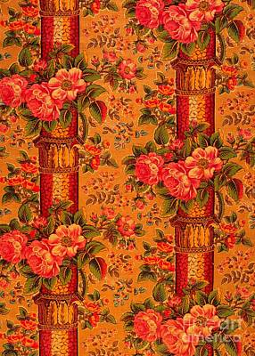 Digital Art - Peonies Roses And Bamboo Anglo Japonesque  1870s Victorian Tapestry by Peter Ogden