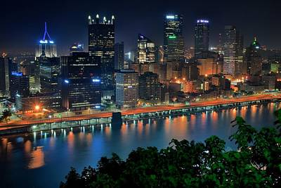 A Photographic Pittsburgh Night Art Print by Frozen in Time Fine Art Photography