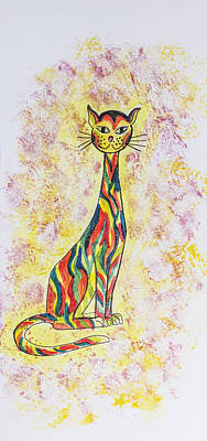 Moggy Painting - A Phycodelic Cat by Gillian Short