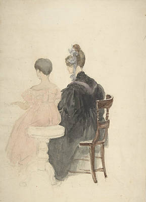 Drawing - A Piano Lesson by David Cox