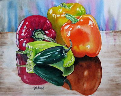 Yellow Bananas Painting - A Pick Of Peppers by Maria Barry