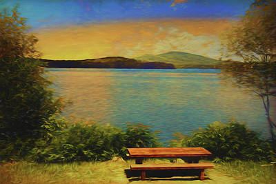 Photograph - A Picnik Table On The Shore Of Somerset Reservoir by Rusty R Smith